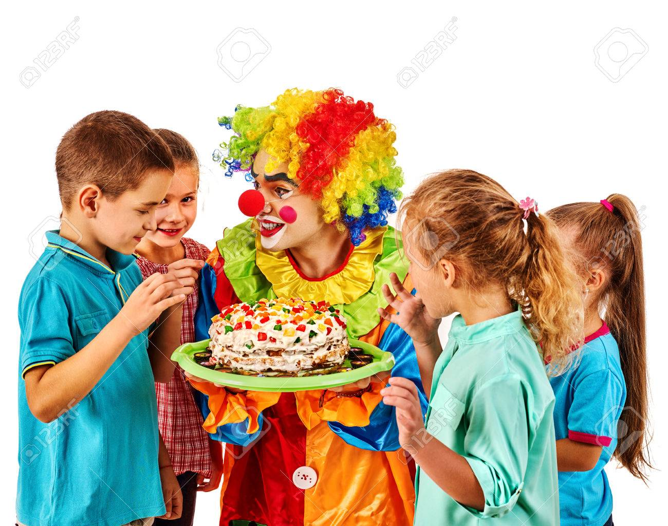 Birthday Child Clown Playing With Children Kid Cakes Celebratory In Hands Of Events Organizer Man