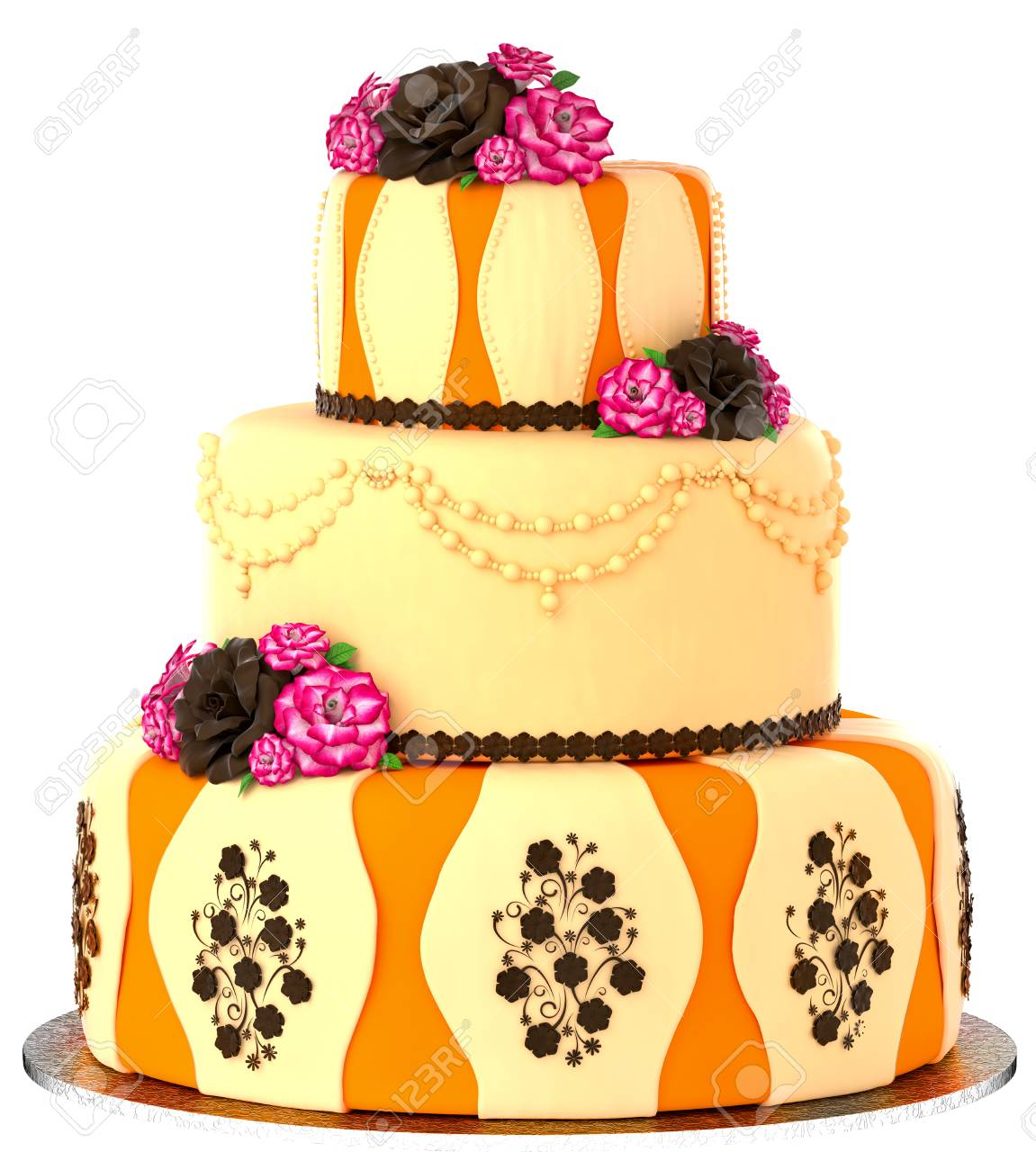 Three Tier Cake With 3 Layer Decorated Chocolate Rose And Flowers Birthday Or Wedding Tired Pie Orange Yellow Slice For Event Holidays On White