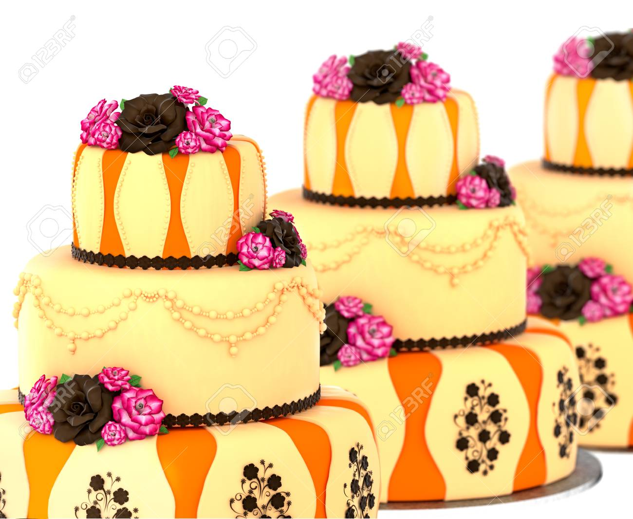 Three Tier Cake With 3 Layer Decorated Chocolate Rose And Flowers