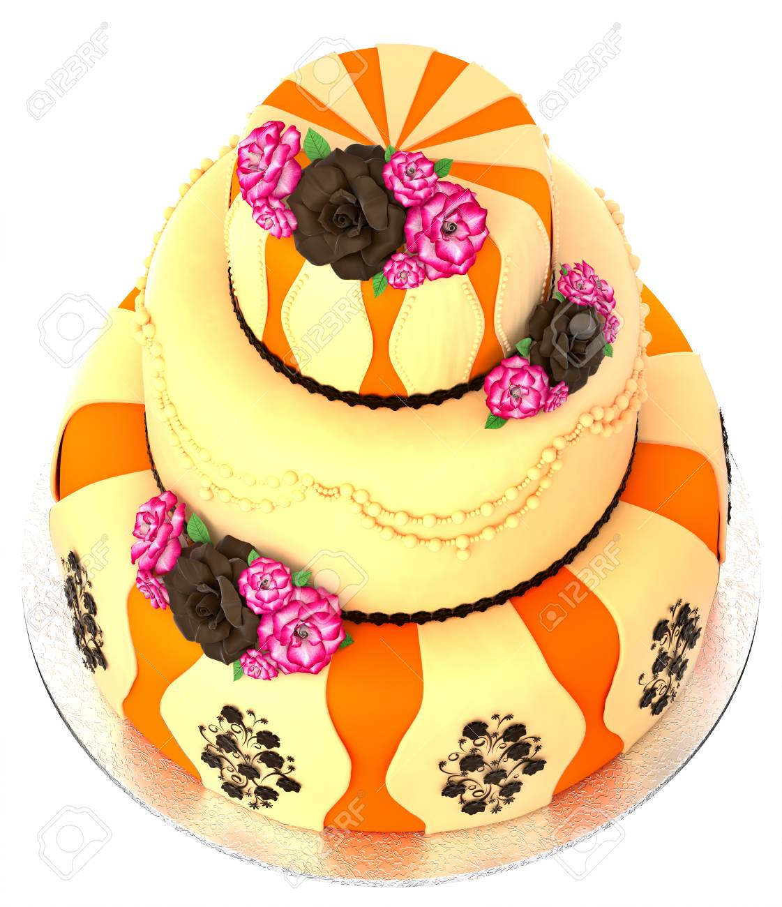 Three Tier Cake With 3 Layer Decorated Chocolate Rose And Flowers Top View Birthday Or Wedding Tired Pie Orange Yellow Slice For Event Holidays On