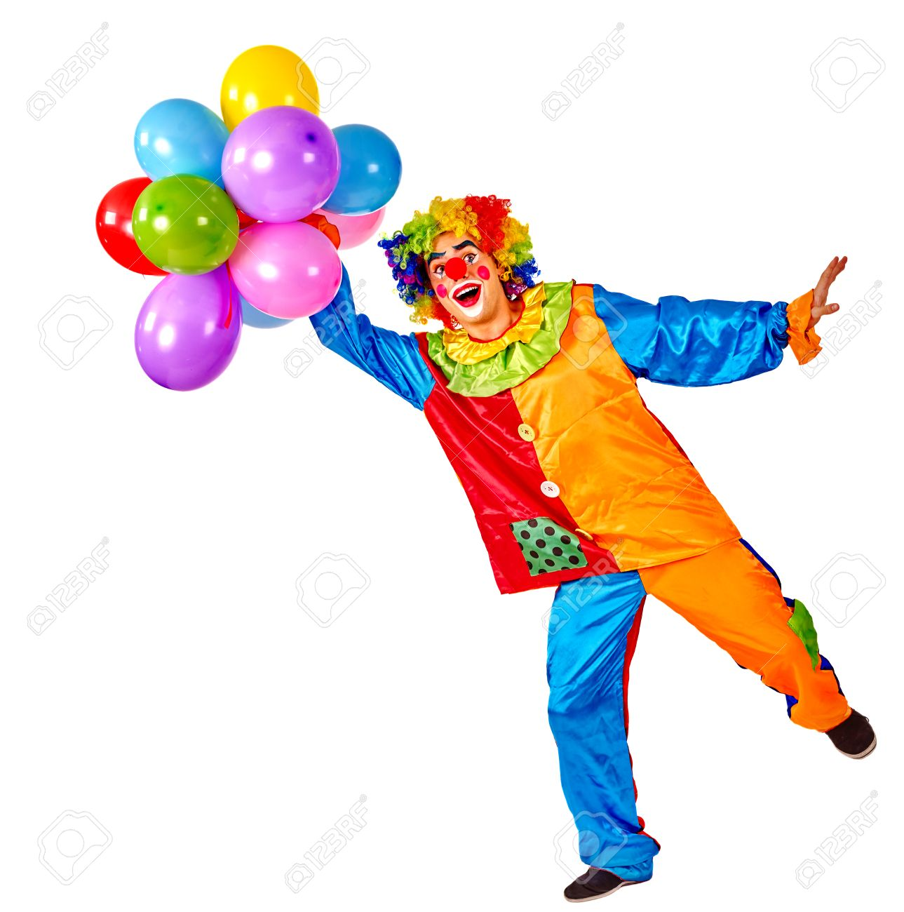 Verjaardag Kind Clown Met Ballonnen Stelletje Op Geisoleerde