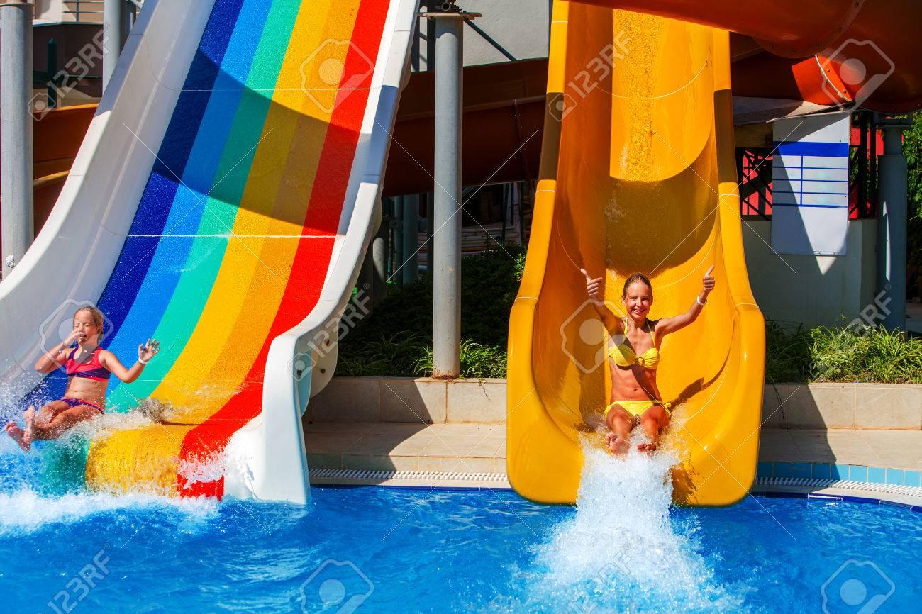 Swimming pool slides for children on water slide at aquapark..