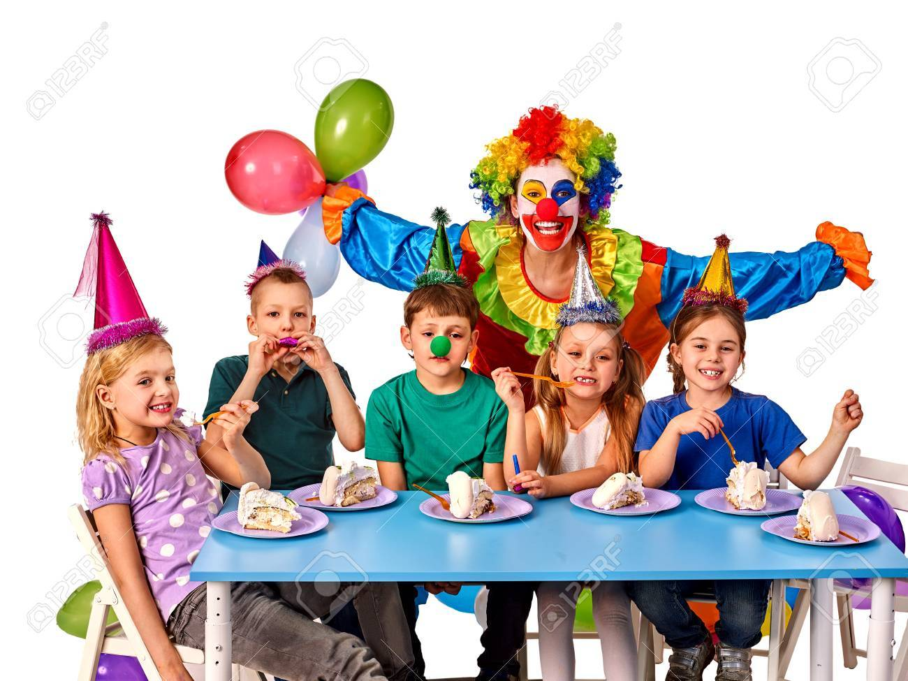 Birthday Child Clown Playing With Children Who Eat Cake Kid Nose Bunny Fingers Prank