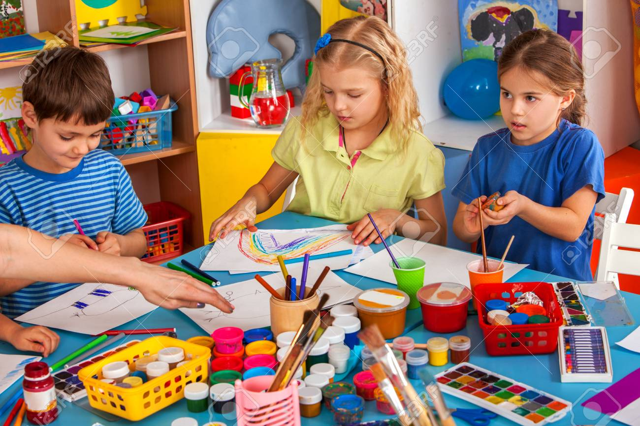 Small Students Painting In Art School Class. Children Boy And ...