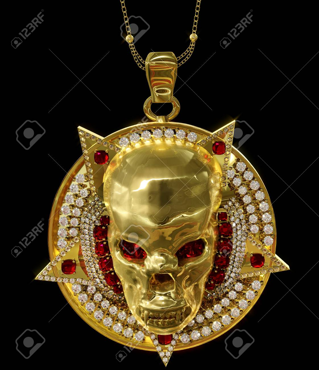 Jewelry Gold Skull Pendant With Star Pentagram Diamond And Red