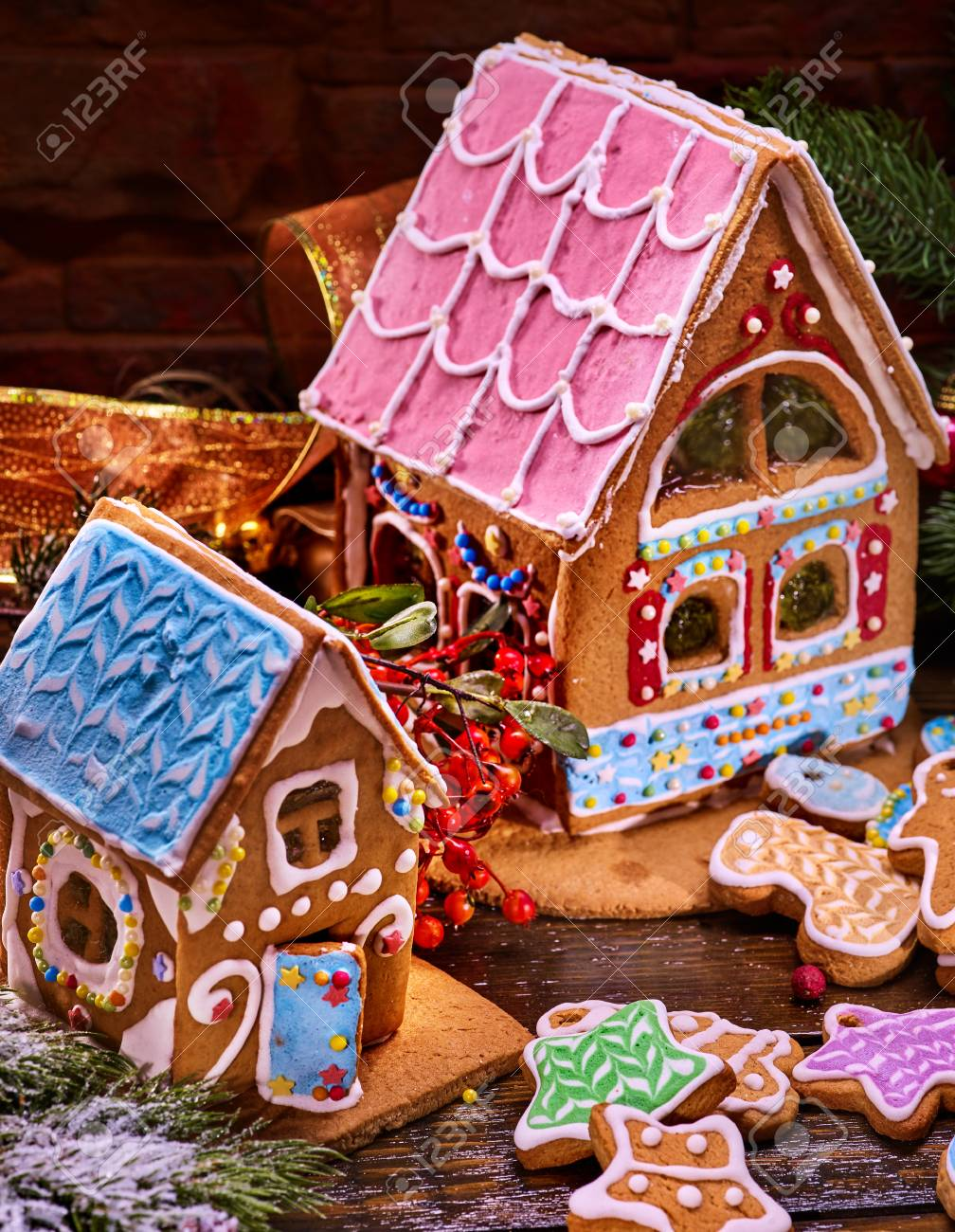 Gingerbread Houses Cookie With Blue Glaze Christmas Ginger Bread