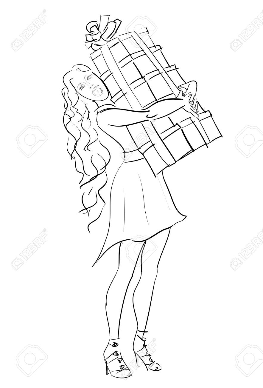 Vector Sketch Woman With Stack Of Gift Box In Holiday Boxing