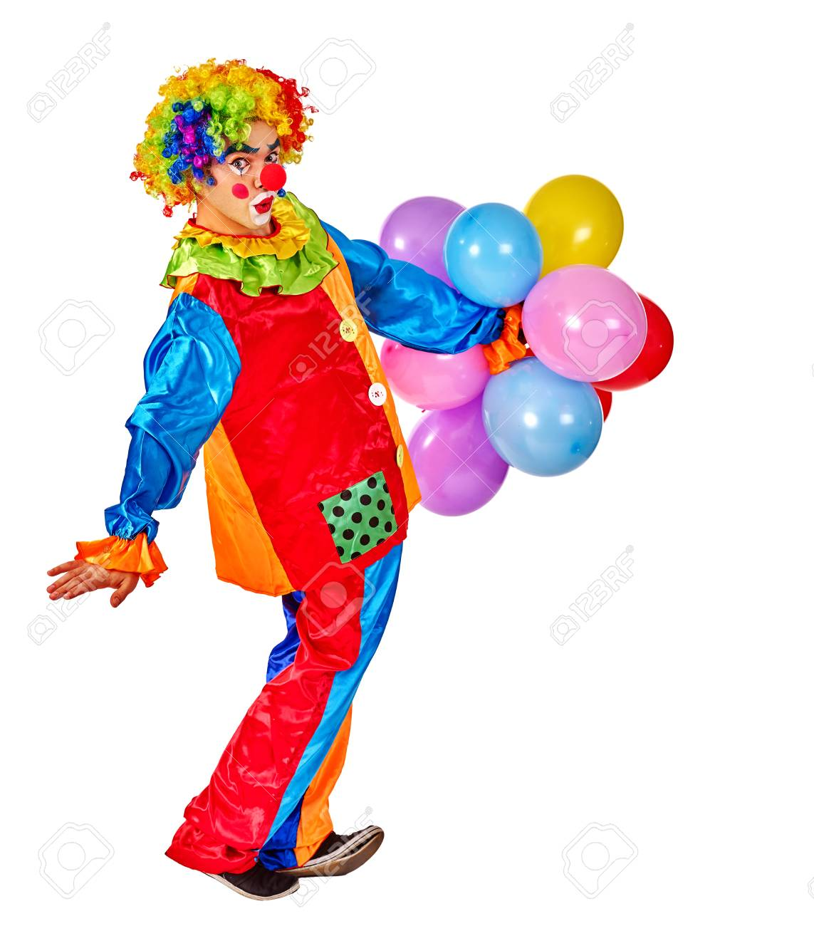 Happy Birthday Clown Man Holding Bunch Of Balloons Isolated Stock Photo
