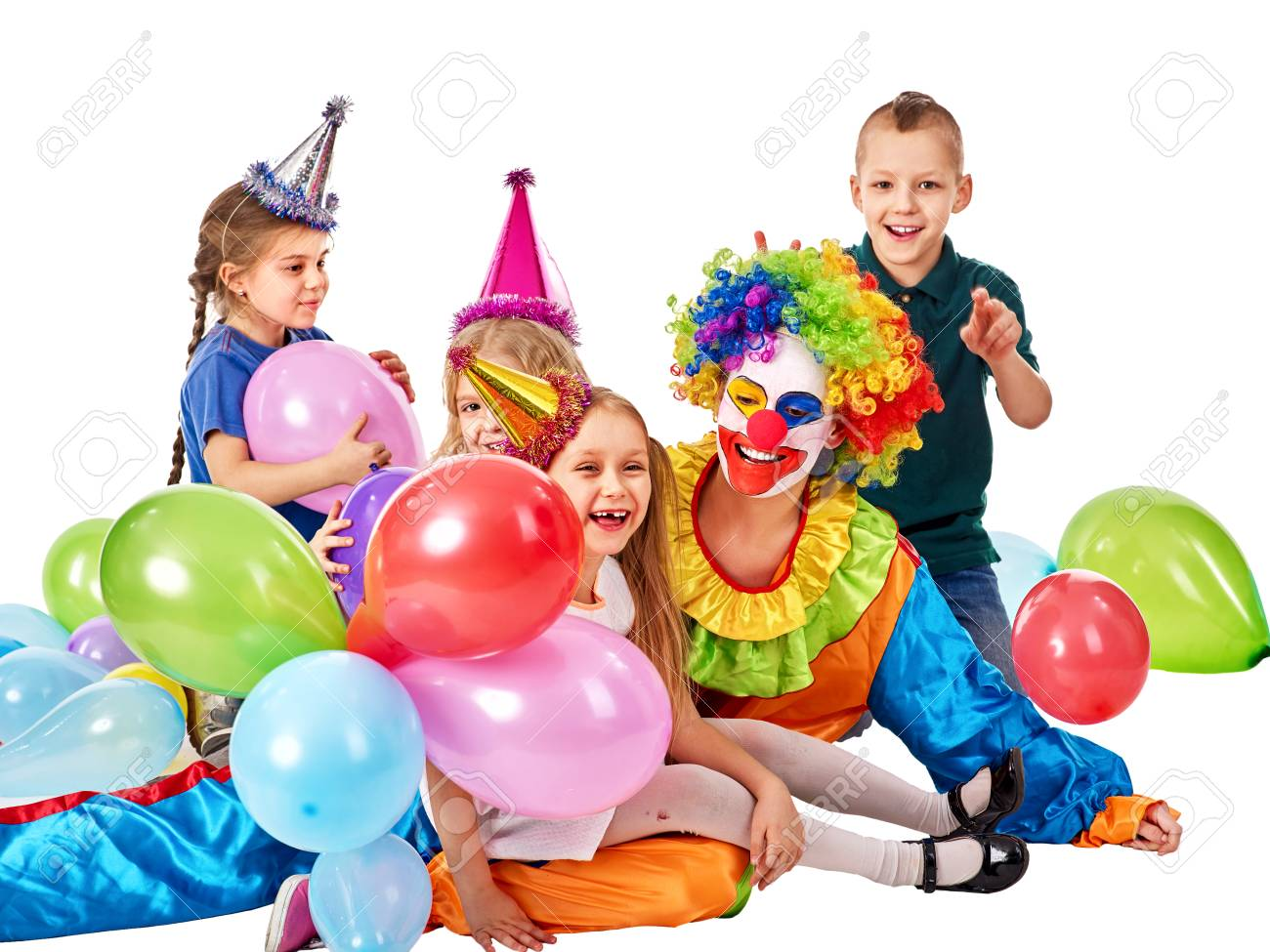 Birthday Child Clown Playing With Children And Bunny Fingers Prank Kid Holiday Cakes Celebratory