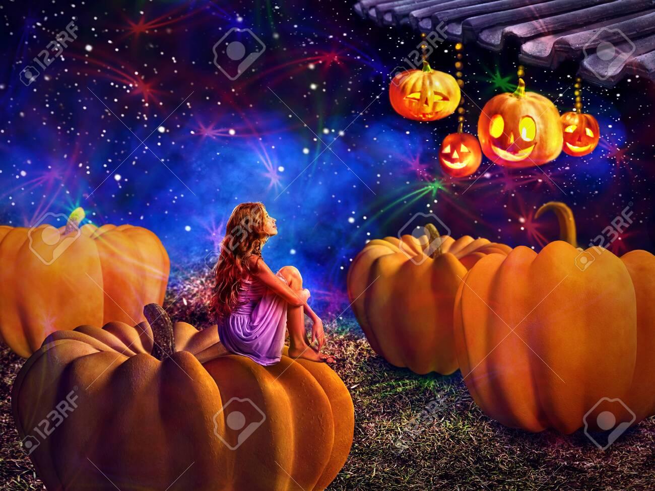 Kid on pumkin in halloween night dreems about fall harvest holiday. Magic jack lantern pumpkin decoration roof light by girl. Autumn children sitting on star sky background. - 155664704
