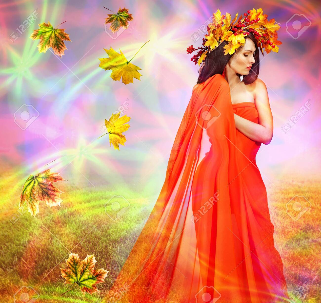Autumn leaves background with woman. Conceptual fall fashion dream in red fall color of september sun. - 156541257