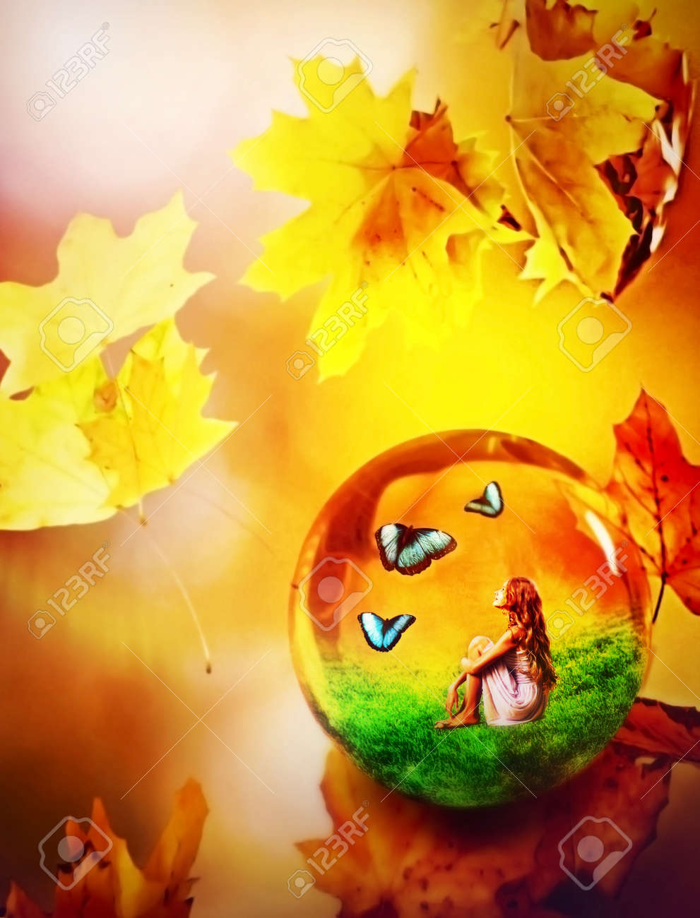 Cycle seasons of conceptual child art. Dream of green grass and autumn leaves. Hello autumn goodbye summer concept. - 157091165