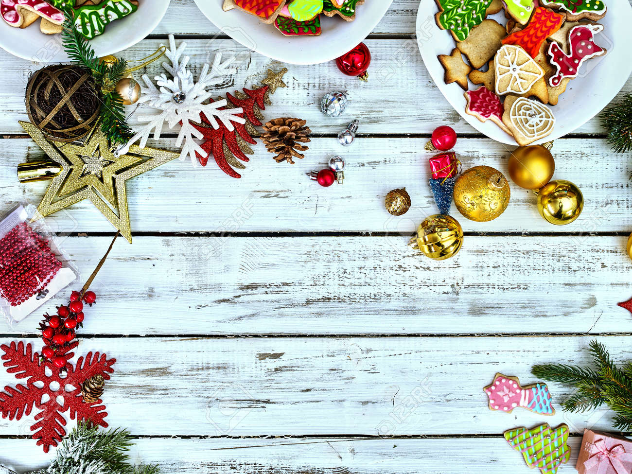 Christmas food background with cookies on copy space. Holiday above Xmas dessert on white wood top view. - 160254795
