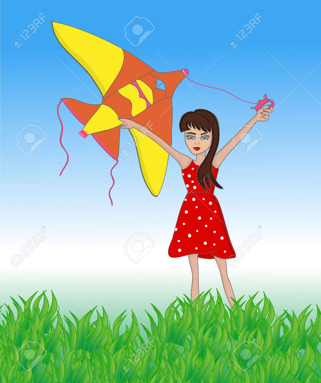 Kid with flying kite in field with blue sky outside in summer time. Vector illustration cartoons of child girl playing in park sun day. - 164997156