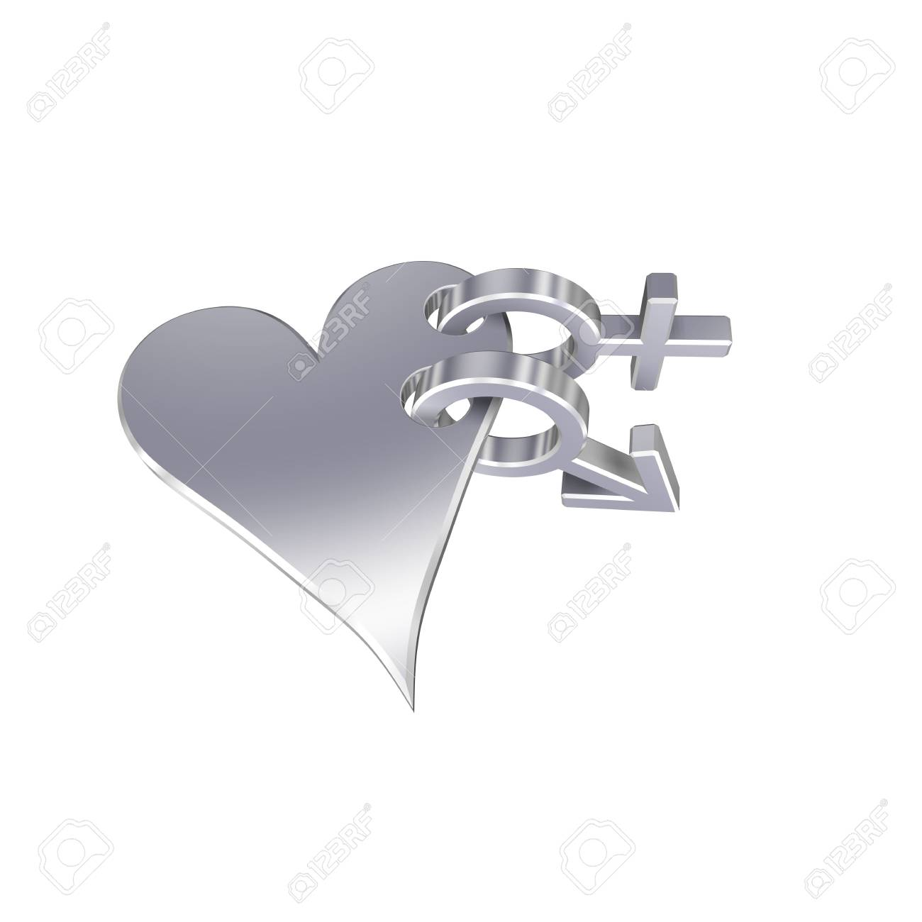 Chrome symbols linked with heart. Computer generated 3D photo rendering. Stock Photo - 4486595