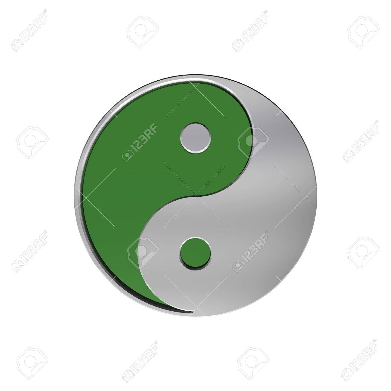 Chrome Tai Chi Yin Yang Sign Computer Generated 3d Photo