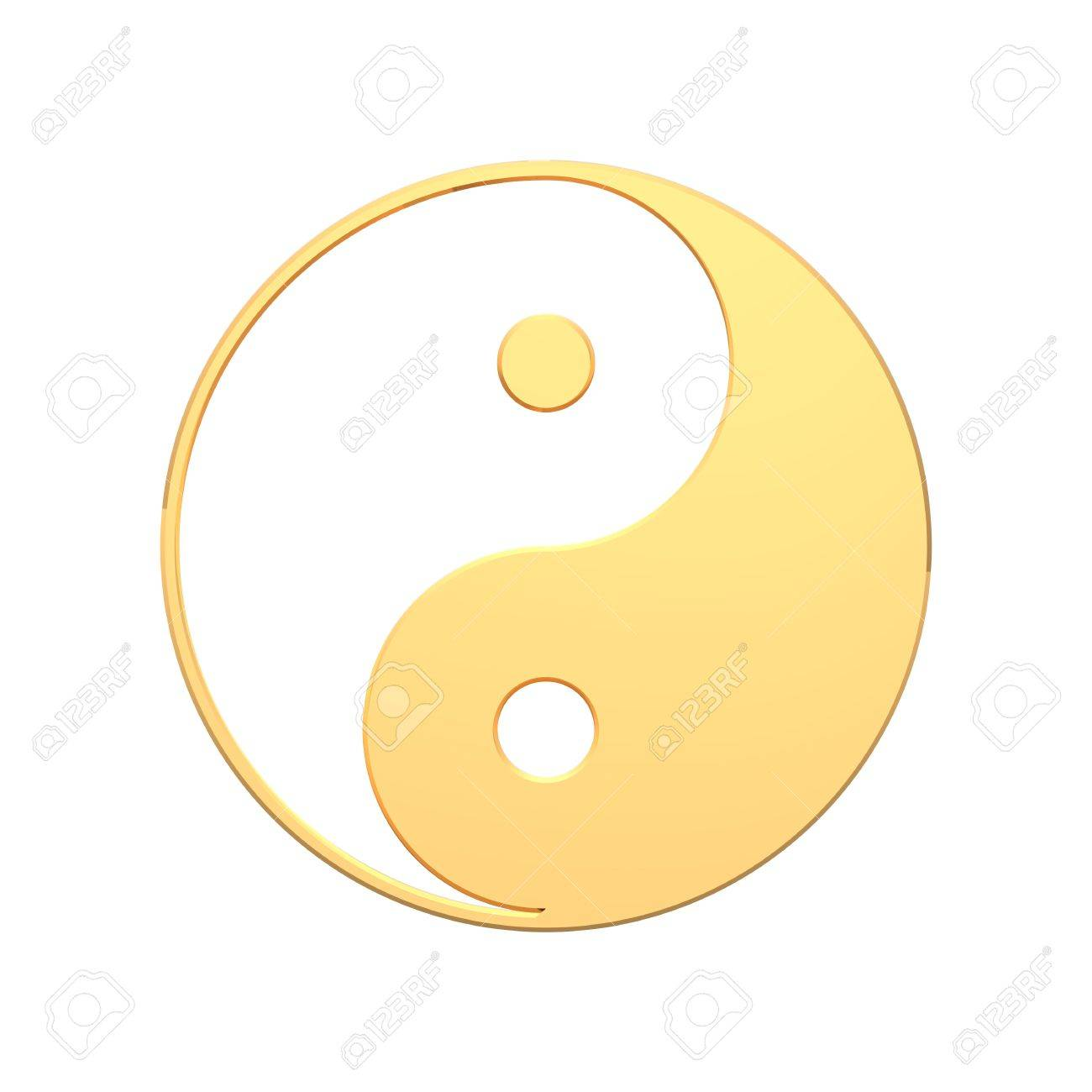 Gold Tai Chi Yin Yang Sign Computer Generated 3d Photo Rendering