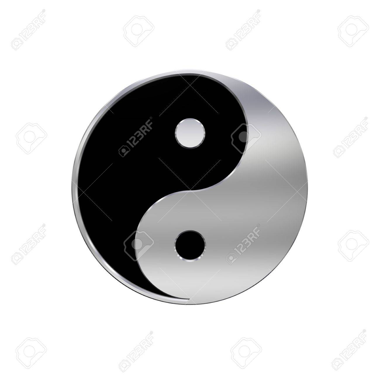 Chrome Tai Chi Yin Yang Sign Computer Generated 3d Photo