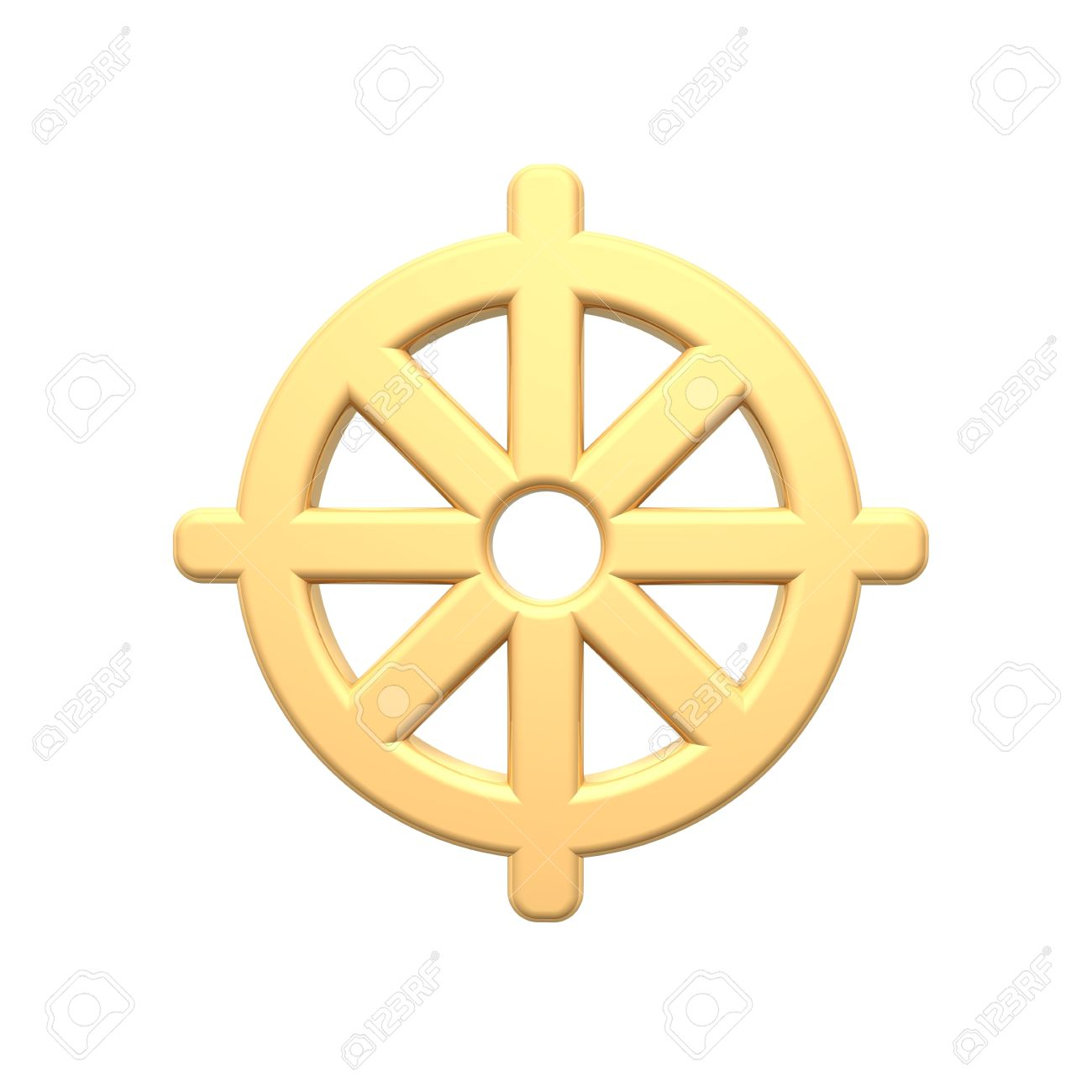 Gold Buddhism Symbol. Computer Generated 3D Photo Rendering. Stock ...