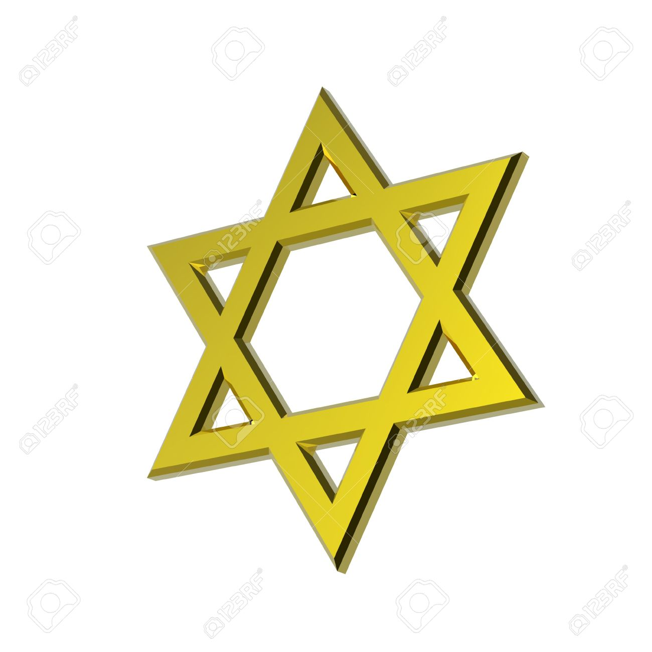 Gold Judaism Religious Symbol Star Of David Isolated On White