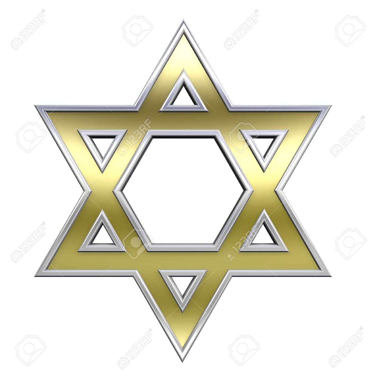 Gold with chrome frame Judaism religious symbol - star of david isolated on white. Computer generated 3D photo rendering. Stock Photo - 5056721