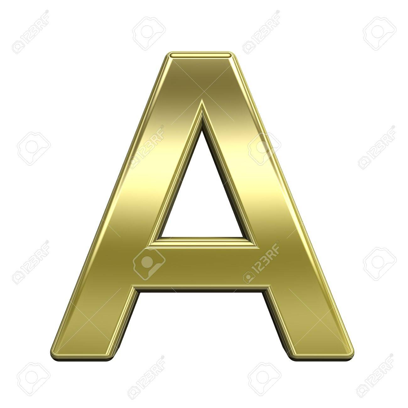 One letter from shiny gold alphabet set, isolated on white. Computer generated 3D photo rendering. Stock Photo - 5180304