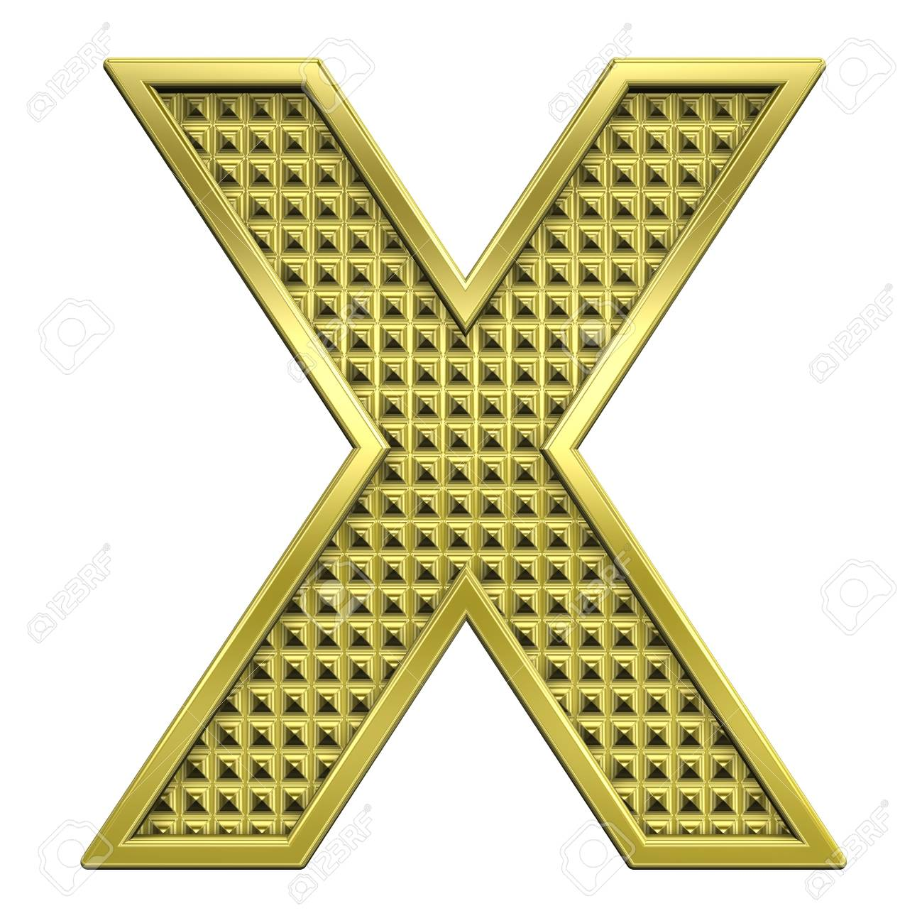 One letter from knurled gold alphabet set, isolated on white. Computer generated 3D photo rendering. Stock Photo - 5584043
