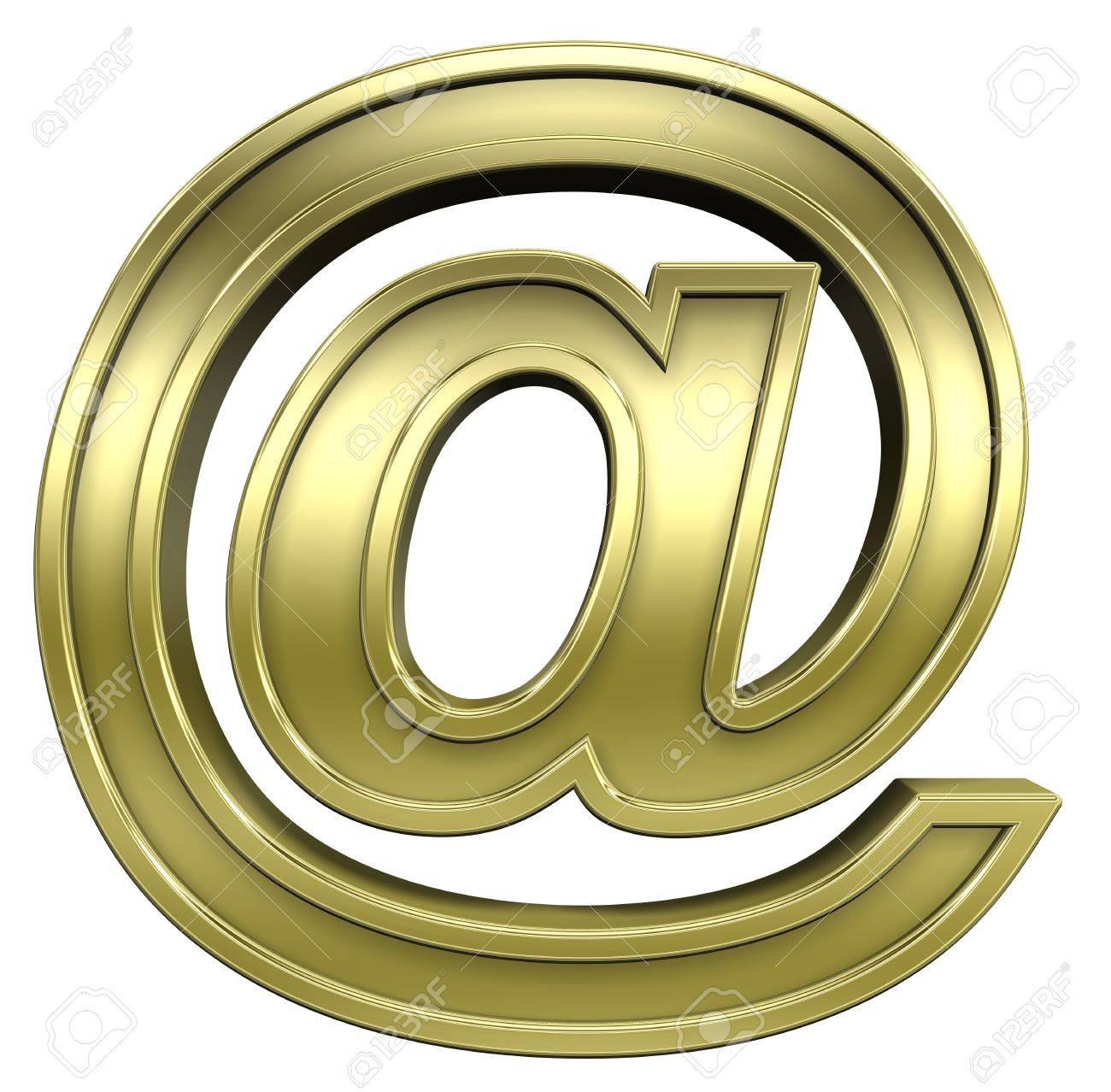Mail sign from shiny gold with gold frame alphabet set, isolated on white. Computer generated 3D photo rendering. Stock Photo - 5644845