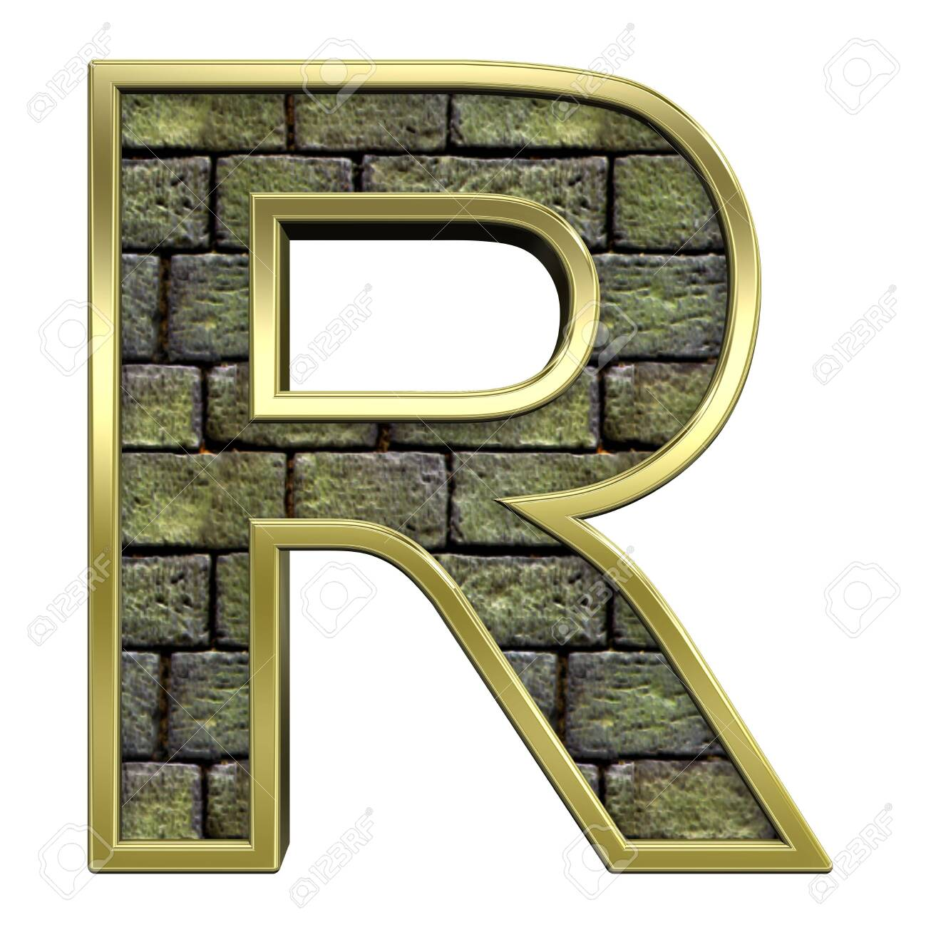 One letter from stone with gold frame alphabet set, isolated on white. Computer generated 3D photo rendering. Stock Photo - 5735711