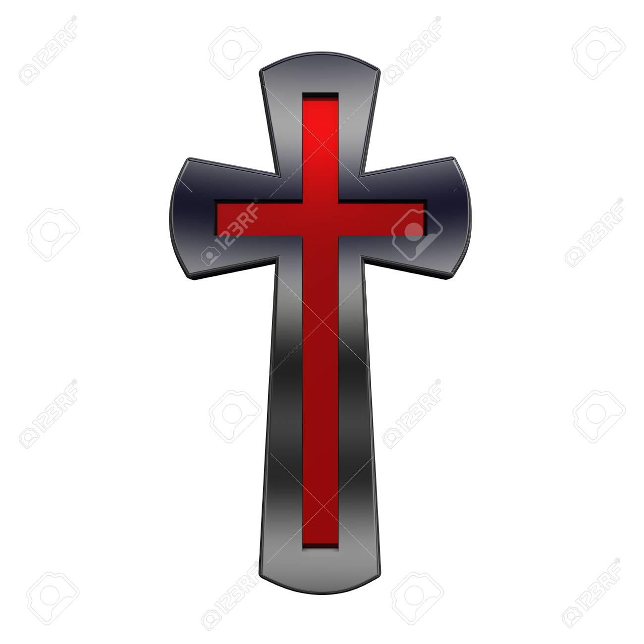 Rubí Con Marco Negro Brillante Cruz Cristiana Aislado En Blanco ...