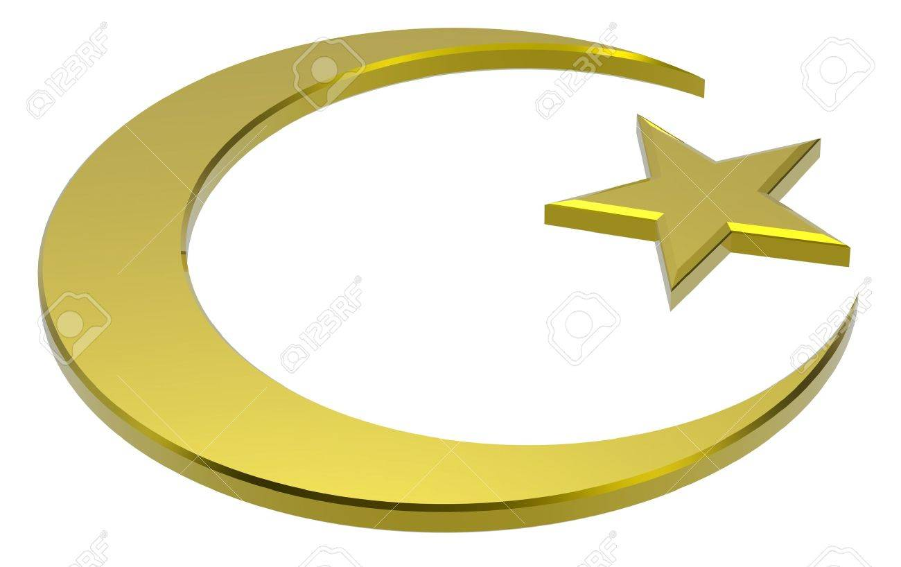 Gold Islamic religious sign isolated on white. 3d computer generated photo rendering. Stock Photo - 5997070