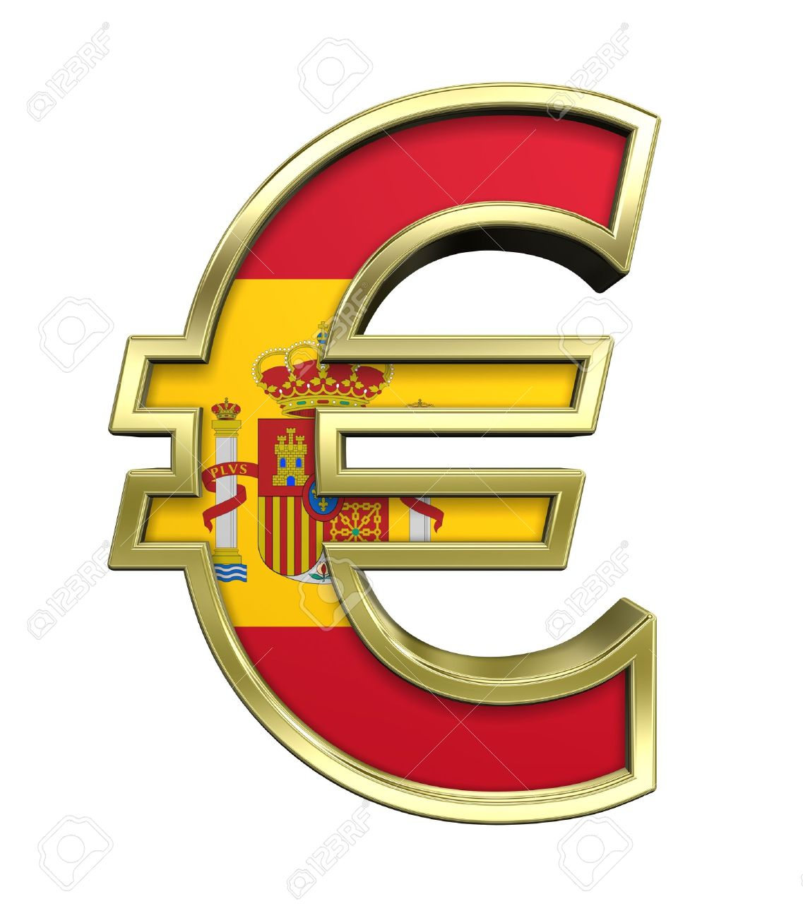 Gold Euro Sign With Spain Flag Isolated On White. Computer ...