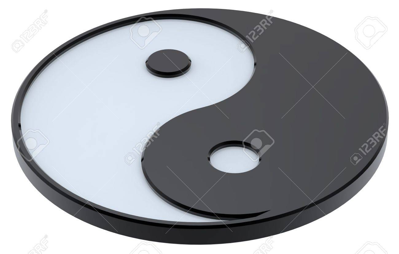 Black And White Yin Yang Symbol Of Harmony Computer Generated
