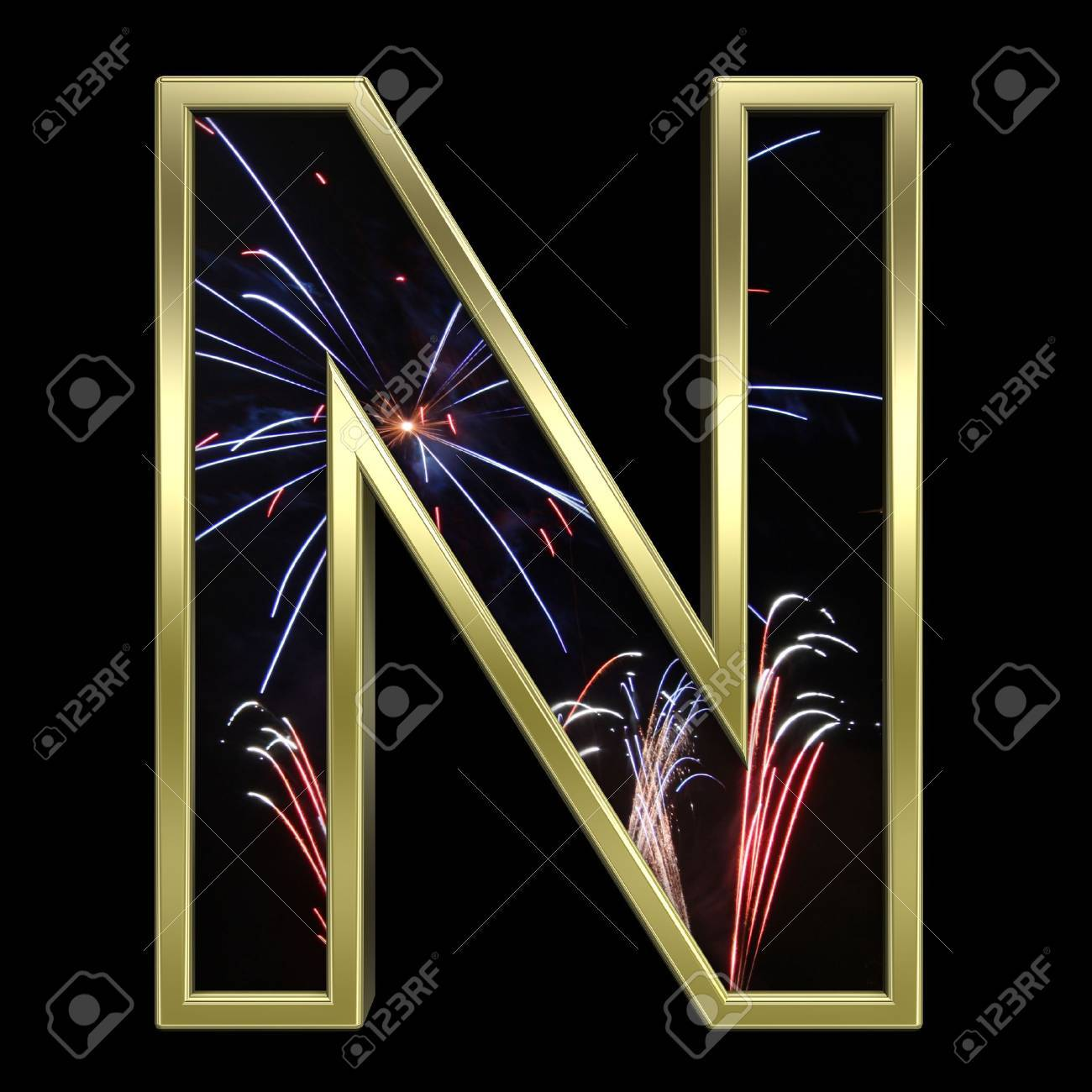 One letter from firework with gold frame alphabet set, isolated on white. Computer generated 3D photo rendering. Stock Photo - 6050329