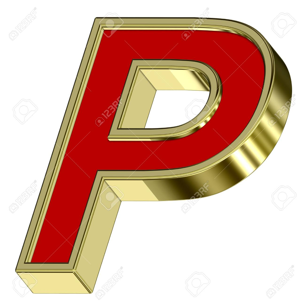 One letter from red with gold frame alphabet set, isolated on white. Computer generated 3D photo rendering. Stock Photo - 6116804