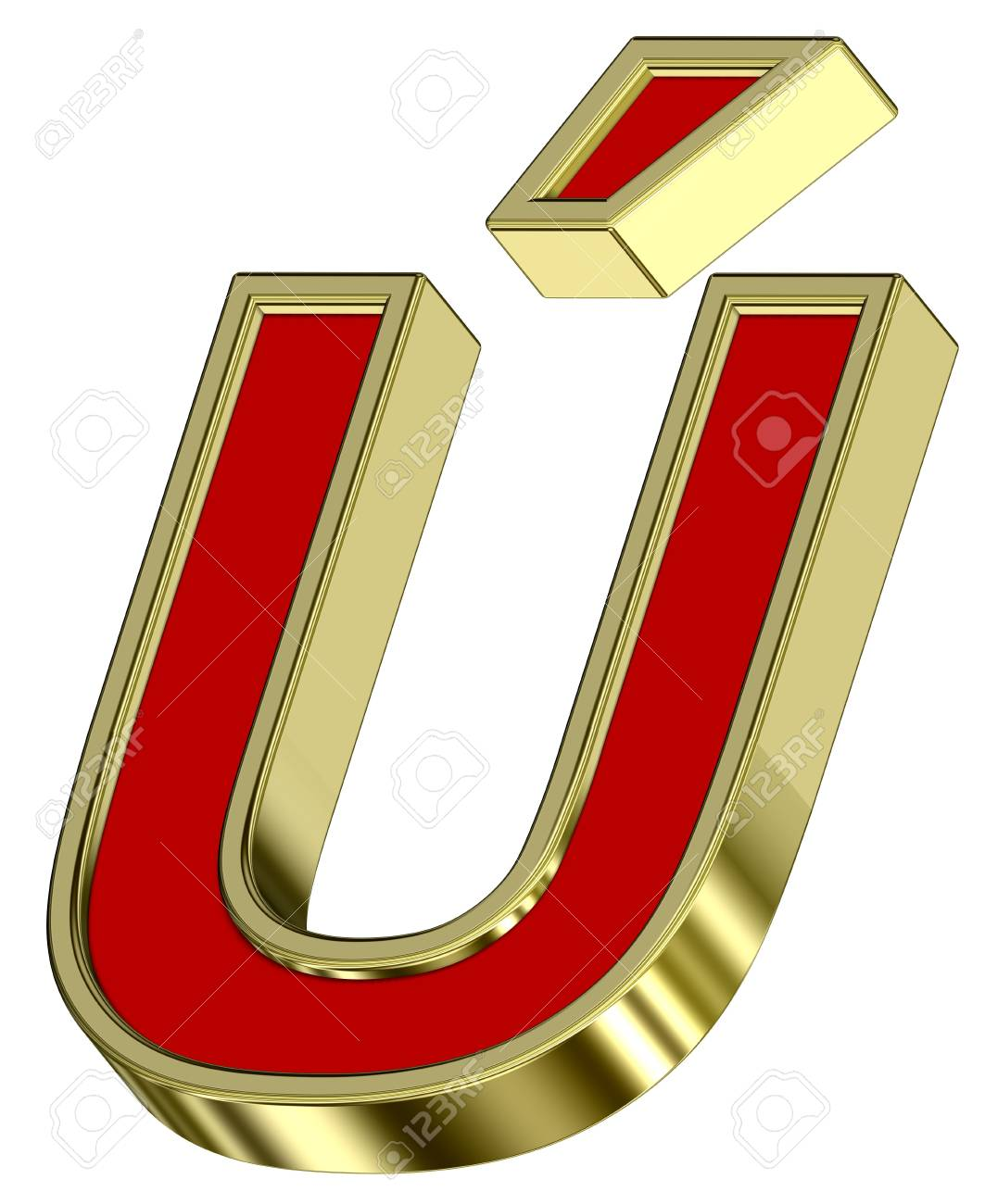 One letter from red with gold frame alphabet set, isolated on white. Computer generated 3D photo rendering. Stock Photo - 6116827