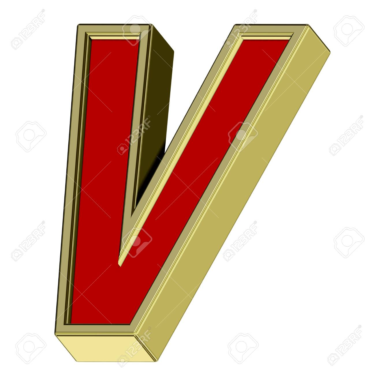 One letter from red with gold frame alphabet set, isolated on white. Computer generated 3D photo rendering. Stock Photo - 6116793