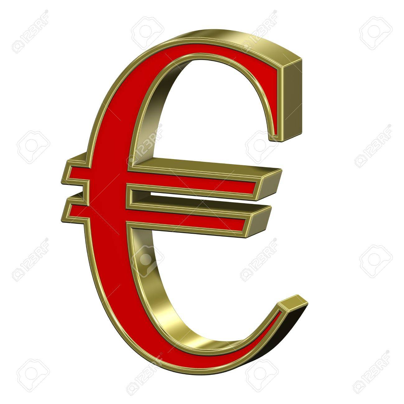 Euro sign from red with gold frame Roman alphabet set, isolated on white. Computer generated 3D photo rendering. Stock Photo - 6159711