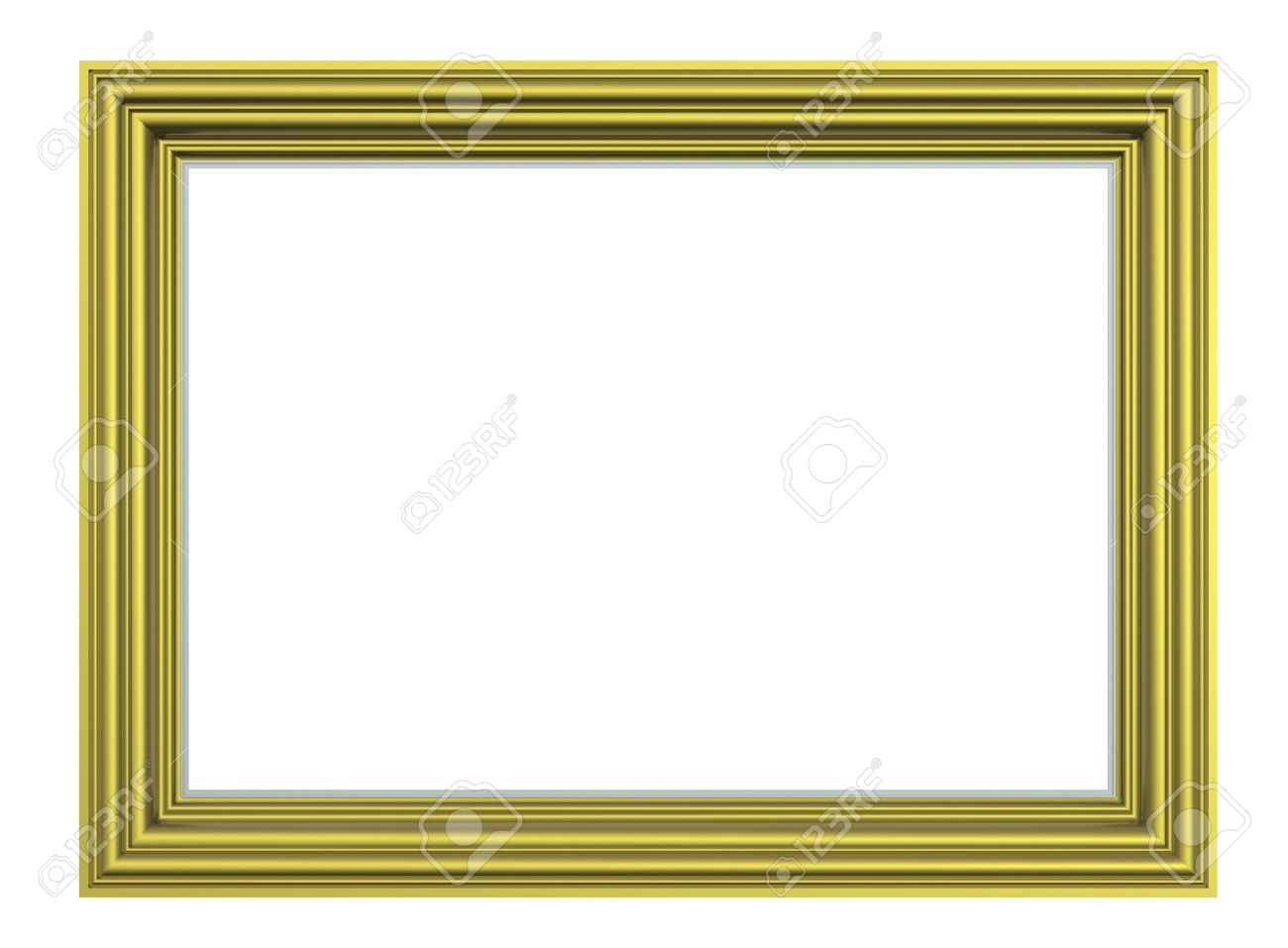 Matt gold rectangular frame isolated on white background. Computer generated 3D photo rendering. Stock Photo - 6528779
