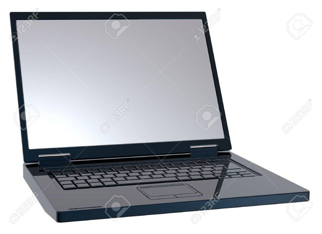 Shiny black laptop isolated on white. Stock Photo - 6742515