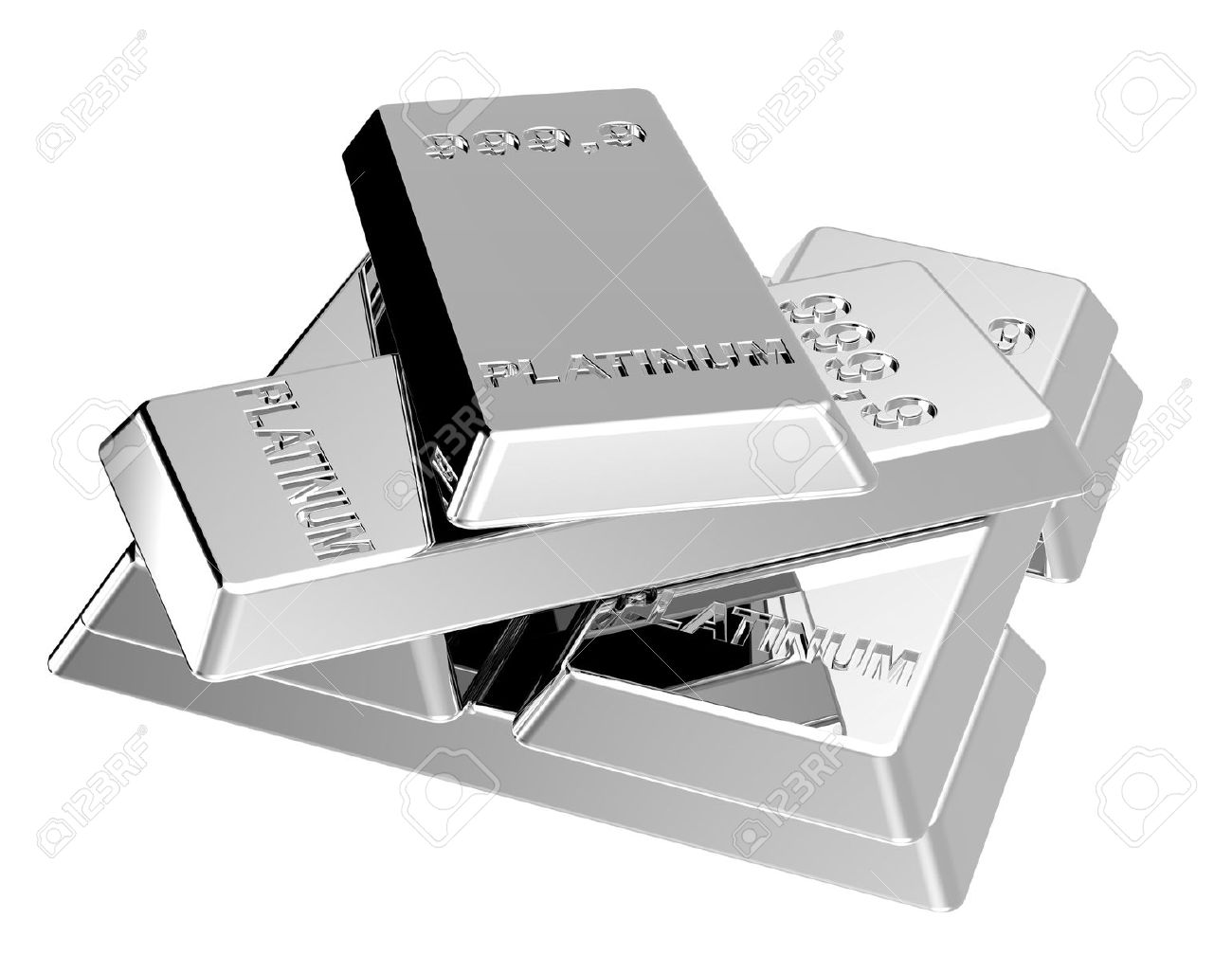 Platinum ingots isolated on white. Computer generated 3D photo rendering. - 9101363