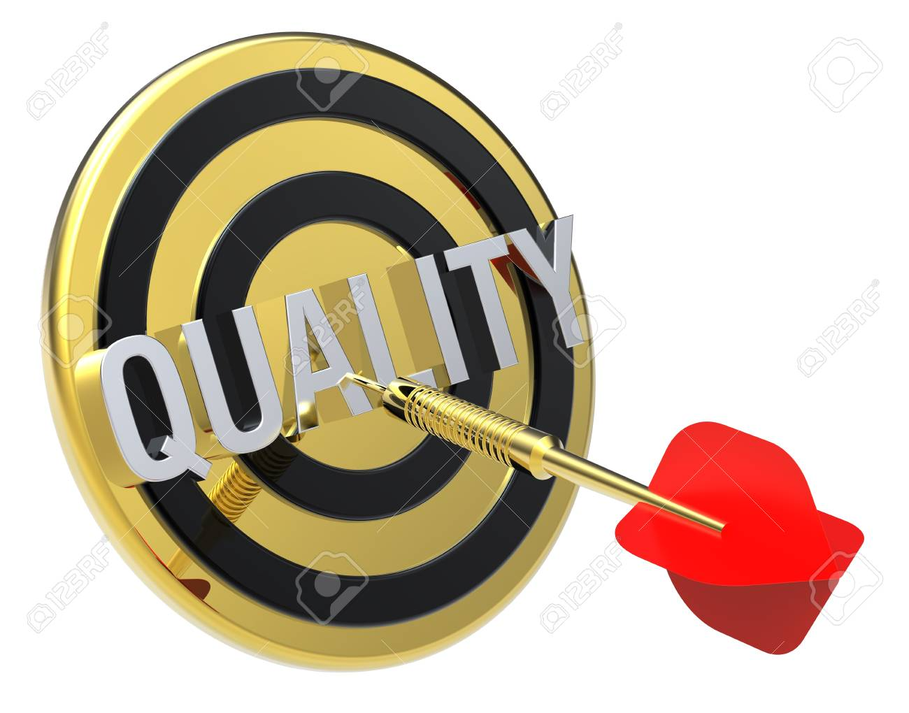 Red dart on a gold target with text on it. The concept of quality. Computer generated 3D photo rendering. Stock Photo - 9279562
