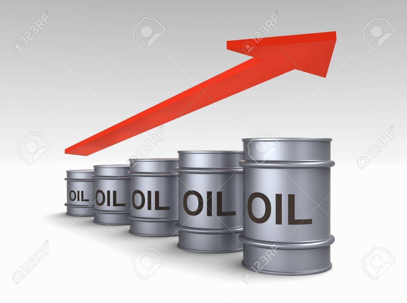 Increasing price of oil concept. Computer generated 3D photo rendering. Stock Photo - 9388686