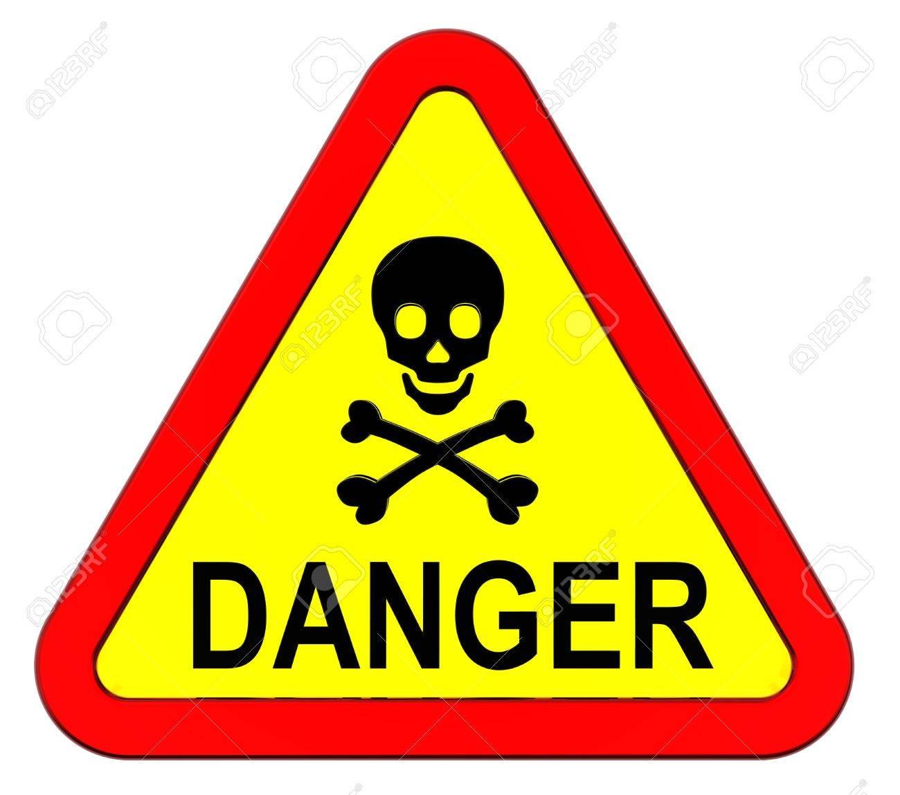 Danger warning sign isolated on white Stock Photo - 9700502