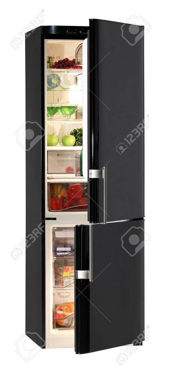 Two door shiny black refrigerator isolated on white Stock Photo - 9822956