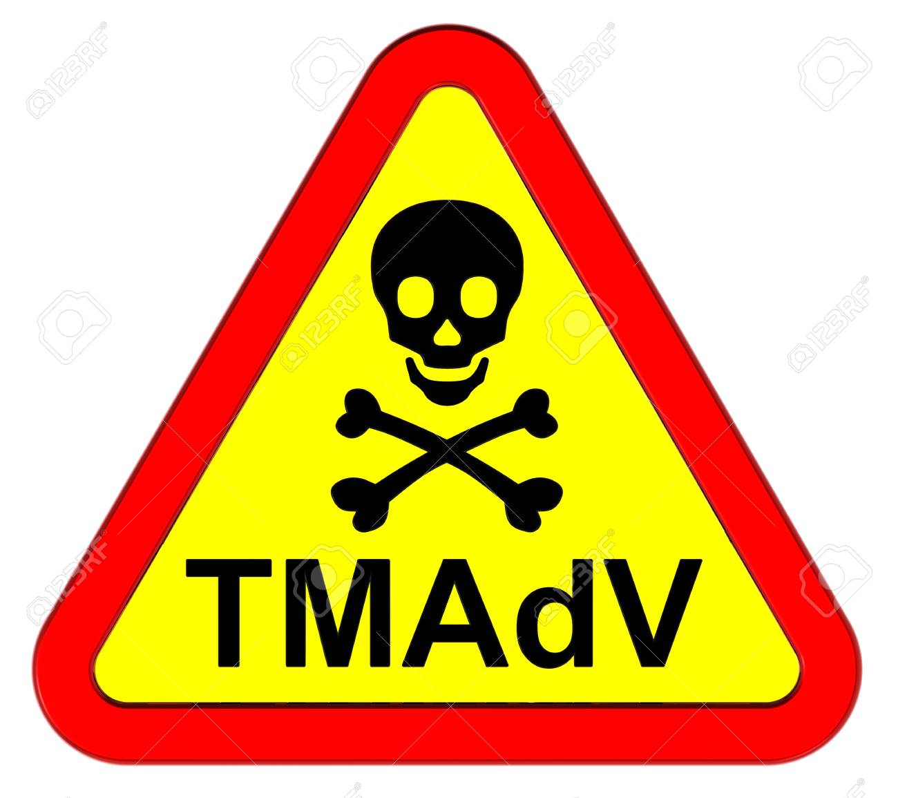 TMAdV - warning sign. Computer generated 3D photo rendering. Stock Photo - 10066144