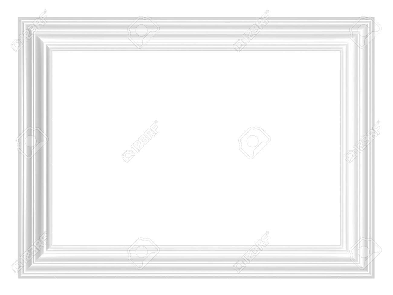Marco Blanco Aislada Sobre Fondo Blanco. Representación 3D Foto ...