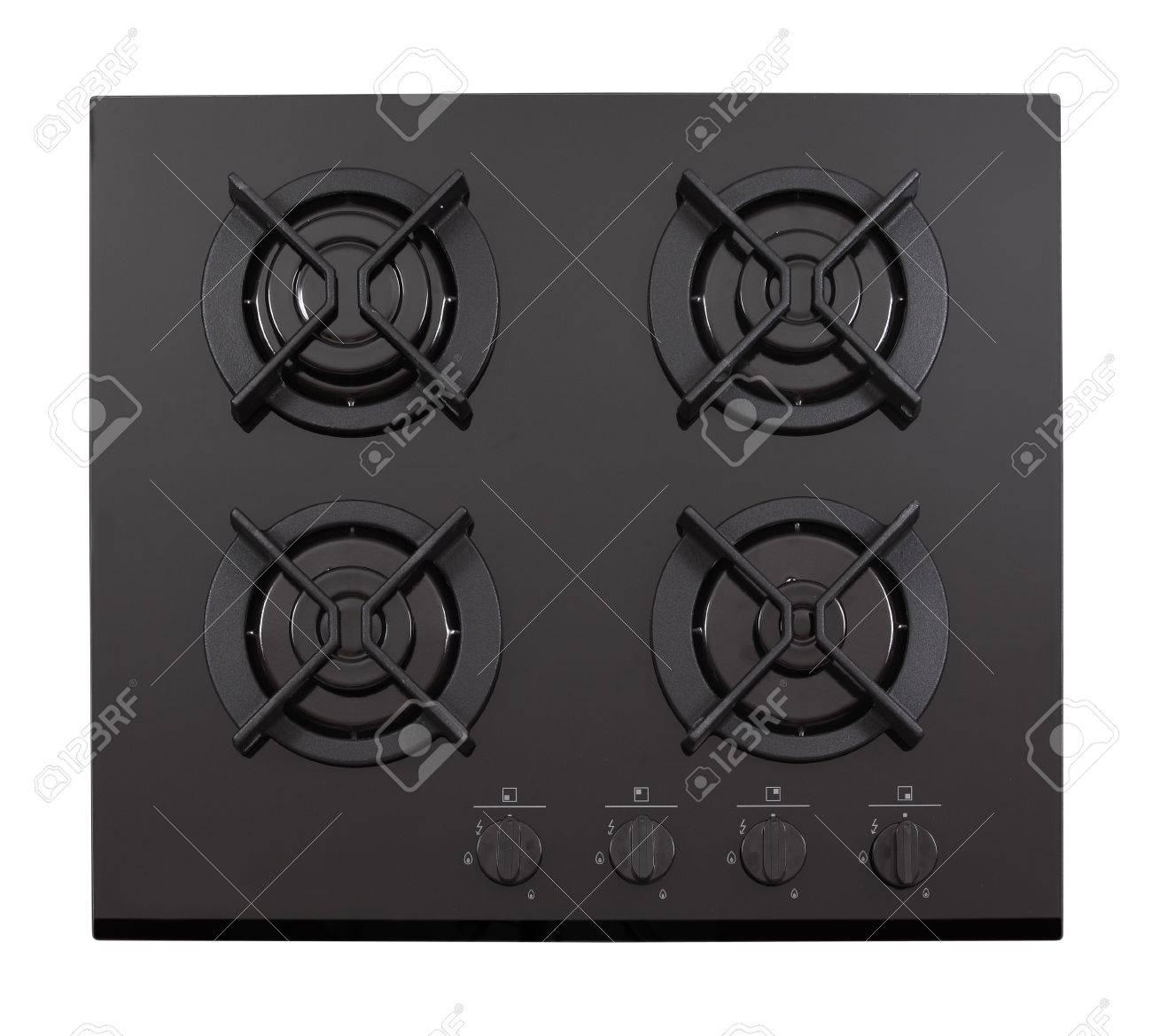 Black glass gas hob isolated on white Stock Photo - 11238722