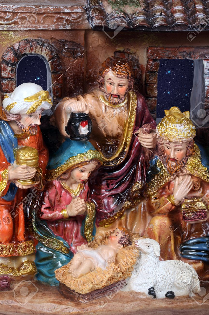 Christmas Crib. Nativity scene with the holy family and Jesus in the manger. Stock Photo - 11742511