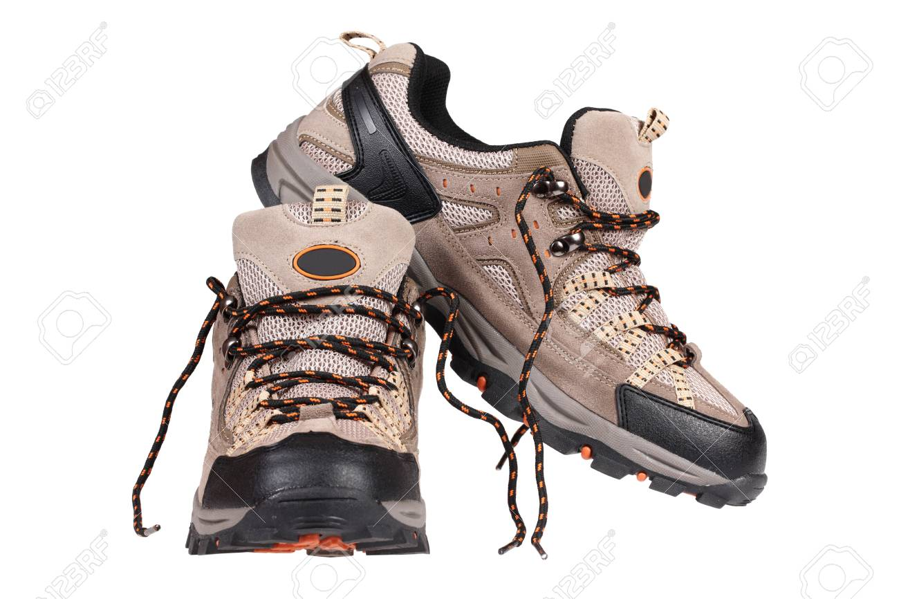 Sport trekking shoes isolated over white Stock Photo - 12895639